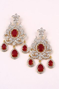 Diamond Studs Beautiful Earrings Indian Jewelry Anarkali Earring Set Off White Gold Collection Pion For Fashion