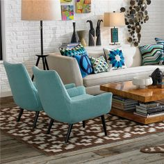 Jonathan Adler Mrs Godfrey Chair in Cashin Ocean