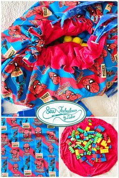 Awesome superhero design for oh sew cool and practical toy storage!  large play mat converts to drawstring toy bag for fun at home or wherever their adventures take them!  combine with their favorite toy or give as a stand alone gift