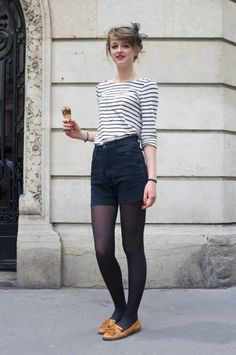 Shorts with tights.
