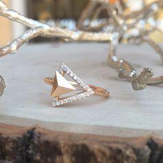 14 Karat Rose Gold Diamond Pyramid Ring #JewelerByDesign