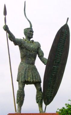 Statue of Shaka in Stanger, and it should be noted that his spear was not that long, but short with a large blade taking up most of the length of the spear for close combat