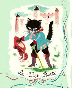 1956 Larousse En Images, Cover detail, 'Le Chat Botté'