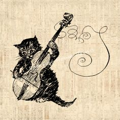 Antique Kitten Cat Playing Violin Art Wall by SparrowHousePrints, $12.00