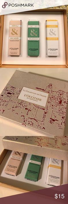 l'occitane women's perfume set - brand new! Brand new- never used travel size l'occitane women's perfume set - Néroli & Orchidée, The Vert & Bigarade, Jasmin & Bergamote. 0.25 fl oz each. L'occitane Perfume Other