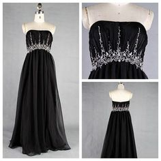 High quality strapless long chiffon real made empire black prom dresses,wholesale evening dresses for sale