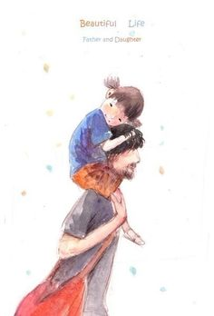 Art: father and daughter Father And Baby, Catty Noir, Fathers Love, Father Daughter, Children's Book Illustration, Cute Drawings, Illustrations Posters, Childrens Books, Dads
