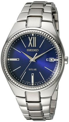 Seiko SNE879 Women's Watch Solar Blue Dial Stainless Steel Case