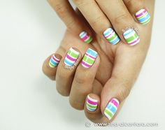 Colored Stripes Nail Art Design