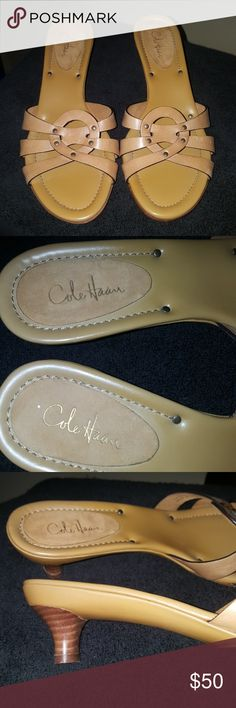 Cole Haan kitten leather studded mule New Never worn. Beautiful neutral brown. Leather upper with kitten heel. Cole Haan Shoes Heels