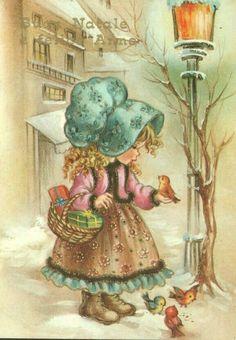 Betsy Ann. Sarah Kay, Christmas Card Images, Christmas Pictures, Christmas Art, Cute Kids Pics, Cute Pictures, Vintage Cards, Vintage Postcards, Holly Hobbie
