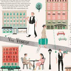 From the latest issue of Condé Nast Traveller UK. Vintage Italy in Via Veneto, Rome.実物は未確認ですが今月号のCondé Nast Traveller UKの見開きから。ローマのVia Veneto という通りを取り上げてます。実際はどうか分かりませんが通りにいる人たちはヴィンテージイタリア映画っぽい雰囲気をちょっと匂わせてます。建物の外観と位置関係を調べるのにStreet Viewを見っぱなしでした。ヨーロッパにありがちですが住所見ても入り口がどこなのか分からない…