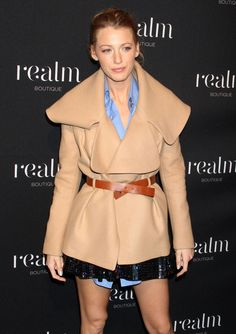 Blake Lively in an amazing short camel coat