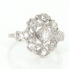 Antique Art Deco Platinum Diamond Filigree Cocktail Ring Fine Vintage Jewelry