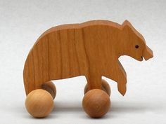 Bear Toy on Wheels Wooden Block Animal for Children Woodland Party Favor for Kids. $5.25, via Etsy.