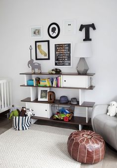 Adorable baby boys nursery with an Oeuf Mini LIbrary Bookcase