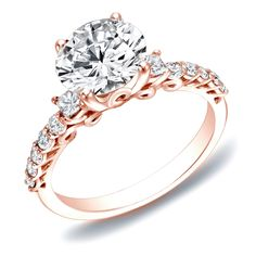 Auriya 14k Rose Gold 1 2/5ct TDW Certified Diamond Traditional Engagement Ring (H-I, SI1-SI2) (Rose Gold - Size 5), Women's