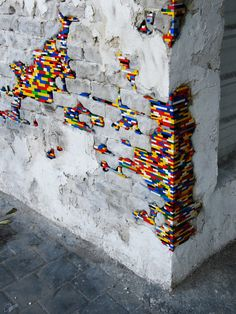 colors Street Art architecture urban Installation building bricks Legos construction blocks