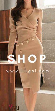 Long Sleeve V Neck Button Detail Sheath Dress Classy Outfits, Beautiful Outfits, Fall Outfits, Dress Skirt, Dress Up, Sheath Dress, Bodycon Dress, Casual Dresses, Fashion Dresses