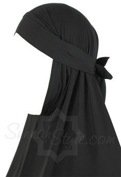 Tie-Back Knee Length Khimar (Black) by Sunnah Style Abaya Fashion, Muslim Fashion, Fashion Dresses, Abaya Pattern, Simple Hijab, Islam Women, Muslim Dress, Pakistan Fashion, Lace Dress With Sleeves