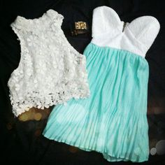 Crochet lace crop top, mint tea dress, gold studded leather cuff.  Ready for summer!