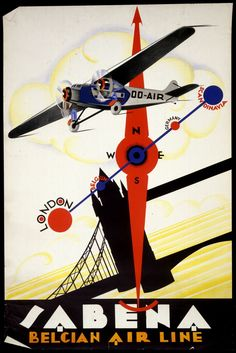 Vintage Aircraft - Vintage air travel poster for now defunct Belgian airline Sabena, showing a propeller plane flying over London's Tower Bridge with a compass and route map design all executed in brilliant art deco style. Art Deco Posters, Cool Posters, Aviation Art, Vintage Travel Posters, Illustrations And Posters, Belle Epoque, Vintage Advertisements, Air Travel, Airplanes