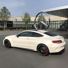 A white shark ready to bite: this Mercedes-AMG C 63 S Coupé is about to make the streets around Affalterbach its own.  Thanks @f1mike28 for the image.  #MercedesAMG #Mercedes #AMG #DrivingPerformance #OneManOneEngine [Fuel consumption combined: 8.6 l/100 km | combined CO2 emissions: 200 g/km]