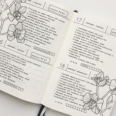 Zoom of my layout for these Days! I missed my black and white flowers so much! Planner Bullet Journal, Calendar Journal, Bullet Journal Spread, Bullet Journal Inspiration, Bujo, Journal Layout, My Journal, Filofax, Bullet Art