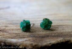 Dark raw aventurine studs Dark green studs by CraftsGarden #jewelry