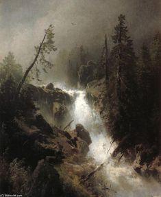 Cascade avec un pêcheur, huile sur toile de Herman Herzog (1832-1932, Germany)