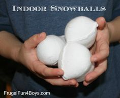 Indoor snowballs and two games to play with them