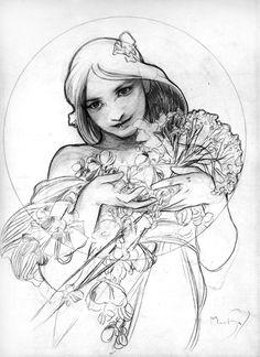 Alfons Mucha drawing
