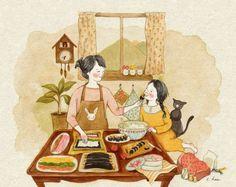 cat, girl, and illustration 이미지 Cute Illustration, Watercolor Illustration, Watercolor Art, Cartoon Drawings, Cute Drawings, Korean Artist, Whimsical Art, Naive, Cat Art