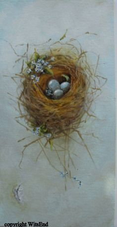 'THE FORGET-ME-NOT BIRD NEST', original canvas painting, via Etsy. SOLD