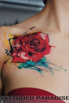 unique Watercolor tattoo - Wonderful watercolor tattoo rose. I wouldn't have it placed there, but love ...