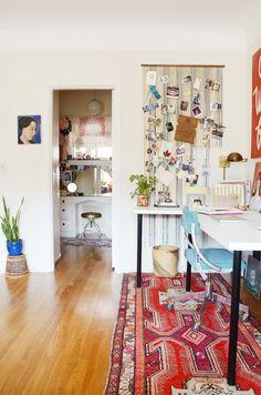 Beaded curtain door bulletin board   Sarah Reid's Home Tour for Design*Sponge