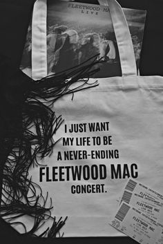 100daysandcounting:  day three hundred & fourteen. I just want my life to be a never-ending Fleetwood Mac concert.  lots of new products (including this bag) now available in my not for profit shop.   http://inthestillnessofremembering.bigcartel.com