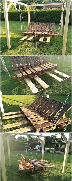 recycled pallets made garden swing Diy Pallet Wall, Wooden Pallet Projects, Wooden Pallet Furniture, Crate Furniture, Pallet Crafts, Wooden Pallets, Pallet Ideas, Furniture Ideas, Wood Ideas
