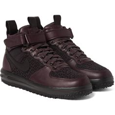 Nike Lunar Force 1 Workboot Leather and Flyknit High-Top Sneakers ($200) ❤ liked on Polyvore featuring men's fashion, men's shoes, men's sneakers, mens leather sneakers, mens woven shoes, mens lightweight running shoes, mens leather shoes and mens woven leather shoes