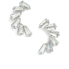 CZ by Kenneth Jay Lane Curved Baguette Cubic Zirconia Stud Earrings ($55) ❤ liked on Polyvore featuring jewelry, earrings, silver, cubic zirconia jewelry, baguette earrings, baguette jewelry, cz jewelry and cz stud earrings