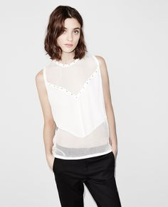Top with a mesh neckline decorated with small studs - Tops & Tank Tops - Sale Women - The Kooples