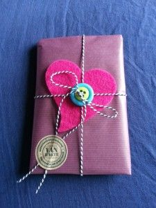 wrapped present. felt heart, twine, buttons & craft sticker