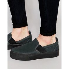 ASOS Slip On Plimsolls in Black With Elastic and Thick Sole ($18) ❤ liked on Polyvore featuring men's fashion, men's shoes, men's sneakers, black, mens slip on shoes, mens canvas slip on sneakers, mens black shoes, mens slip on sneakers and mens black sneakers