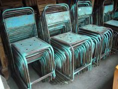 Antique Metal Stacking Chairs, Java - Bali Sourced on Facebook