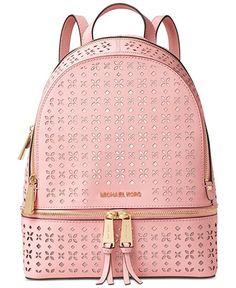 6e2087decfb1 Amazon.com: Michael Kors Rhea Zip Medium Backpack Saffiano leather floral  perforation Blossom/Ballet: Michael Kors: Shoes
