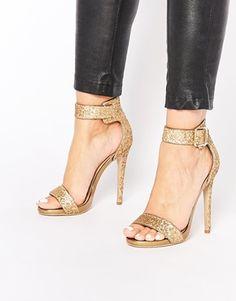 Truffle Collection - Rita - Sandali con tacco e cinturino alla caviglia dorati