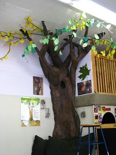 """""""The Reading Tree"""" Students add new leaf for each book read. They love counting how many books they've read. They enjoy watching the tree """"grow"""" more leaves, and feel accomplished. This sets a goal for the class to fill the tree. Classroom Tree, Classroom Setting, Classroom Setup, Classroom Design, Classroom Displays, Preschool Classroom, Future Classroom, Classroom Organization, Classroom Management"""