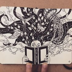 Discover books and their Stories. Moleskine Black and White Ink Drawings. By Francisco Del Carpio.