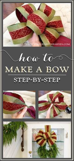 How to make a decorator's bow. a step-by-step tutorial great for holiday wreaths tree-toppers or on a special gift! How to make a decorator's bow. a step-by-step tutorial great for holiday wreaths tree-toppers or on a special gift! Holiday Wreaths, Holiday Crafts, Holiday Fun, Christmas Bows, Christmas Holidays, Christmas Decorations, Xmas, How To Tie A Christmas Bow, Christmas Ideas