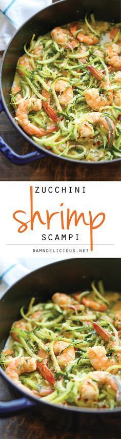 Recipes Shrimp Zucchini Shrimp Scampi - Traditional shrimp scampi made into a low-carb dish with zucchini noodles. It's unbelievably easy, quick & healthy! Zoodle Recipes, Spiralizer Recipes, Paleo Recipes, Cooking Recipes, Recipes Dinner, Paleo Dinner, Healthy Easy Fish Recipes, Easy Low Carb Lunches, Healthy Low Calorie Meals